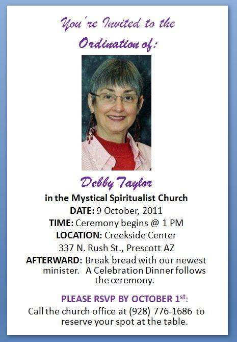 Mystical Spiritualist Church Ordination