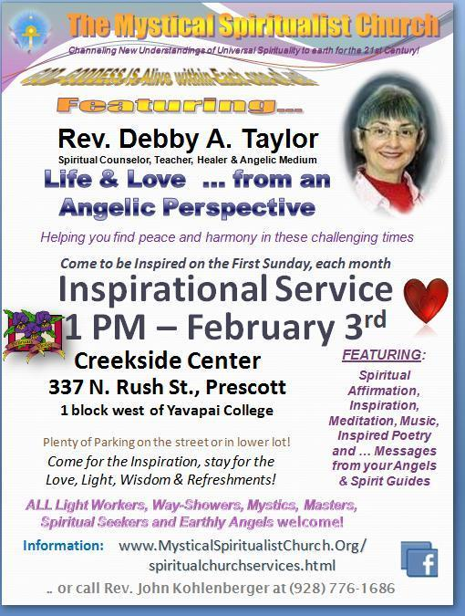 Help us Celebrate Life, Light & Love at Mystical Spiritualist Church, thuis month!