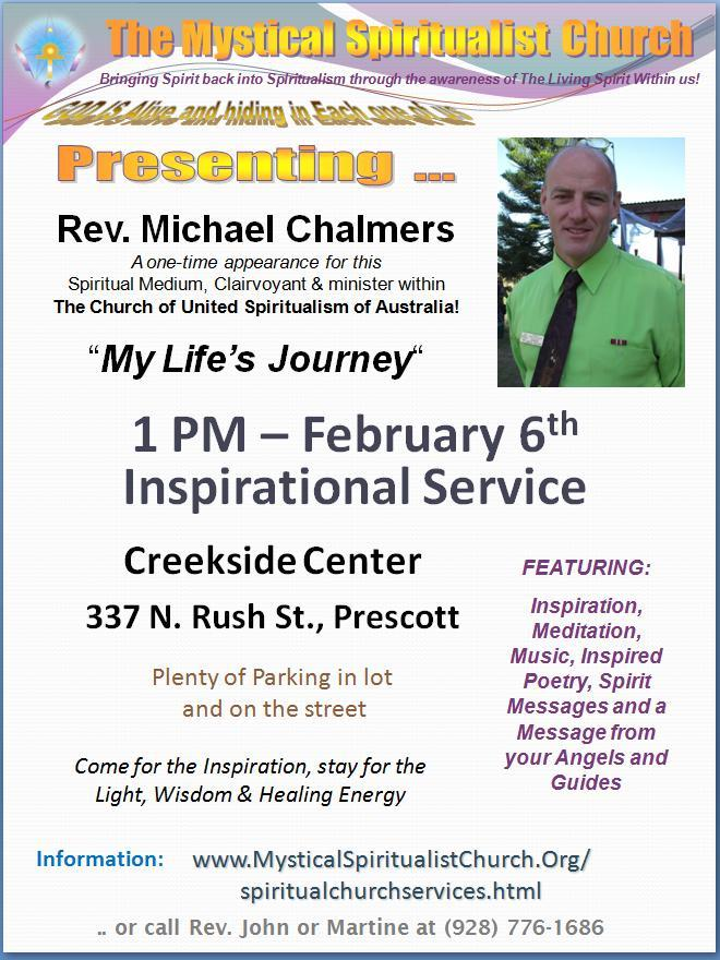 Speaker from Australia in Prescott Arizona, February 6th!